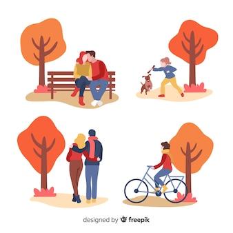 Personas en el parque otoñal