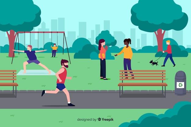 Personas en el parque durante su tiempo libre.