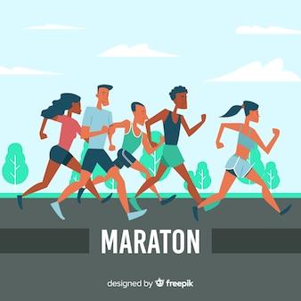 Personas participando en una maratón