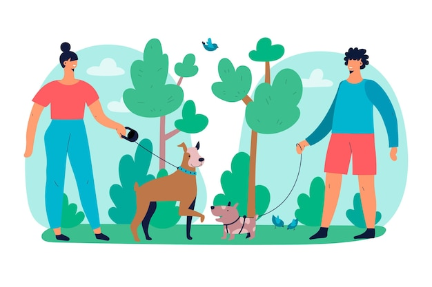 Personas paseando el tema de la ilustración del perro