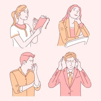 Personas pensando en conjunto de ilustraciones de color plano. mujeres jóvenes pensativas y soñadoras, empresario confundido aislado personajes de dibujos animados con contorno. adultos caucásicos resolviendo problemas, tomando decisiones