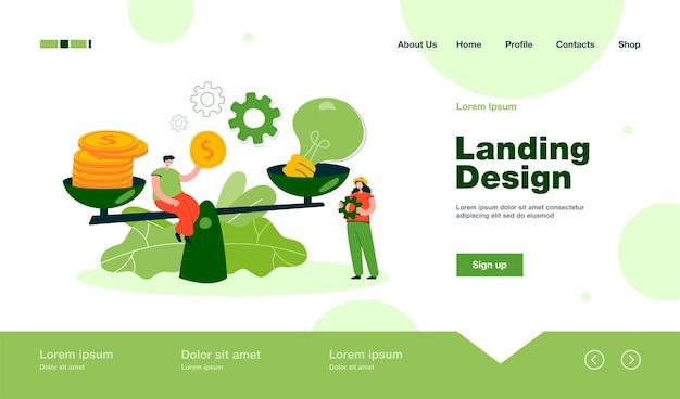 Personas pequeñas creativas que dan precio a la idea con una página de destino de escalas en estilo plano