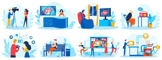 Personas en periodismo personajes de ilustración de vector de noticias de medios de comunicación leen el periódico de la mañana, obtienen las últimas noticias periodísticas en televisión, radio, redes sociales de internet