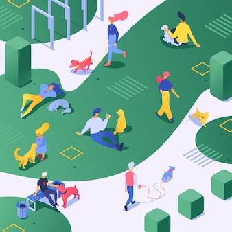 Personas y perro criador de perros personaje caminando con perrito en el parque verde. ilustración del elegante hombre dueño canino, mujer jugando con cachorro y mascota perrita al aire libre en la ciudad