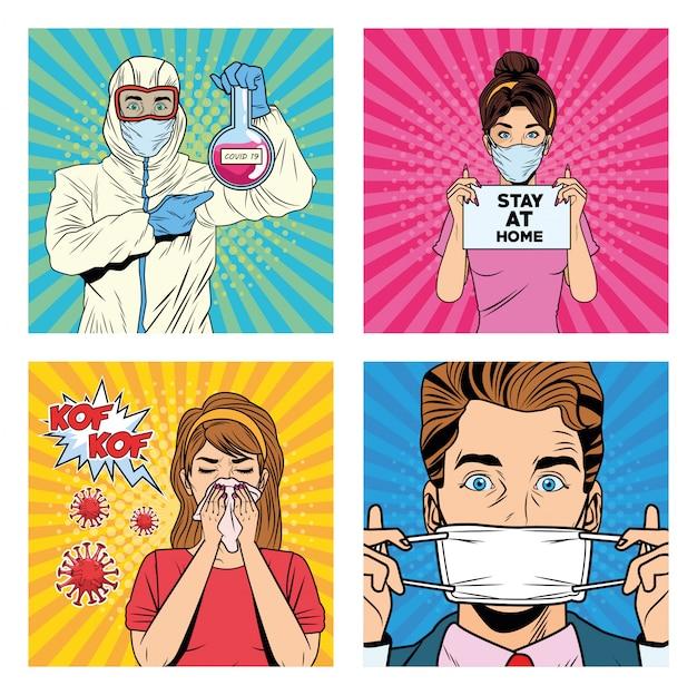 Personas con personajes de pandemia covid19 estilo pop art