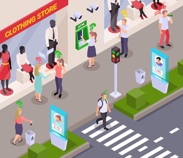 Personas con pictogramas de puntaje de crédito social sobre sus cabezas en la calle cerca de la composición isométrica de la tienda de ropa