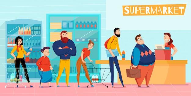Las personas de pie en la cola larga del supermercado haciendo fila esperando el servicio al cliente horizontal composición plana ilustración