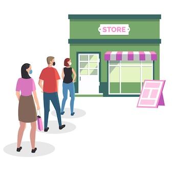 Personas de pie en una cola de la tienda