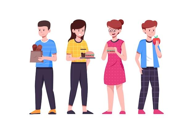 Personas de pie y comiendo comida rápida