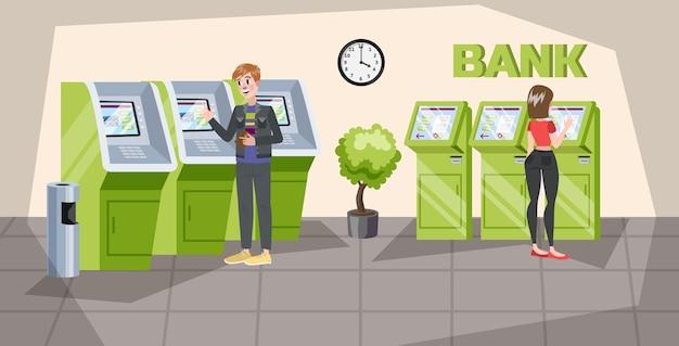 Personas de pie en la oficina del banco en cajeros automáticos. ganar dinero