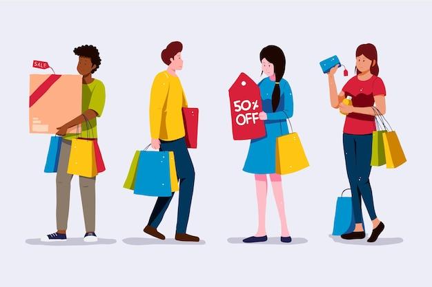 Personas de pie y sosteniendo bolsas de la compra.