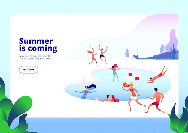 Las personas en la piscina en vacaciones de verano restauran el agua del hotel