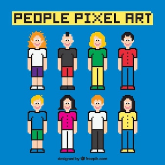 Personas pixeladas con contorno