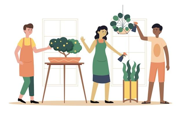 Personas planas cuidando la colección de plantas.