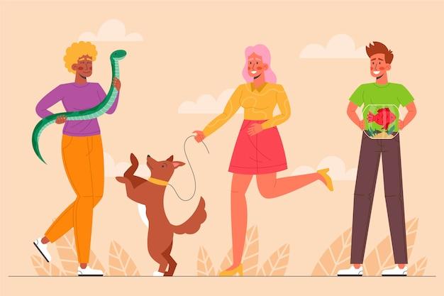 Personas planas cuidando mascotas al aire libre.