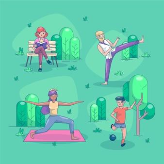 Personas planas haciendo actividades al aire libre.