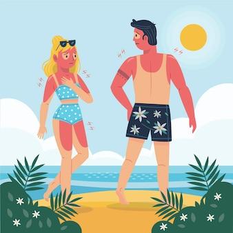 Personas planas ilustradas con una quemadura de sol.