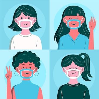 Personas planas con mascarilla transparente para sordos