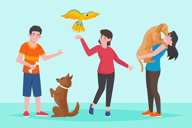 Personas planas con mascotas al aire libre.