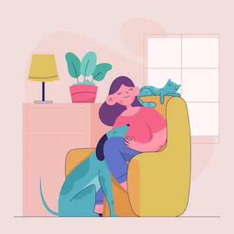 Personas planas con mascotas ilustradas.