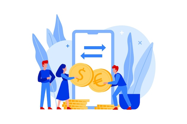 Personas planas con monedas de euro y dólar y cambio de moneda