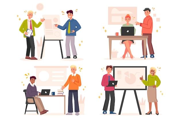 Personas planas orgánicas en formación empresarial.
