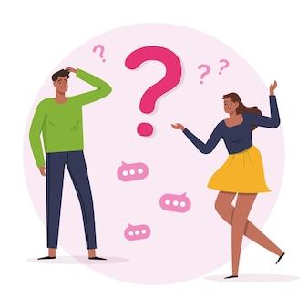 Personas planas orgánicas haciendo preguntas.