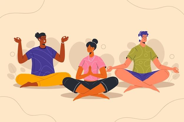 Personas planas orgánicas meditando juntos.