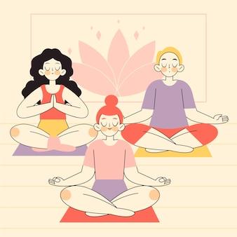 Personas planas orgánicas meditando