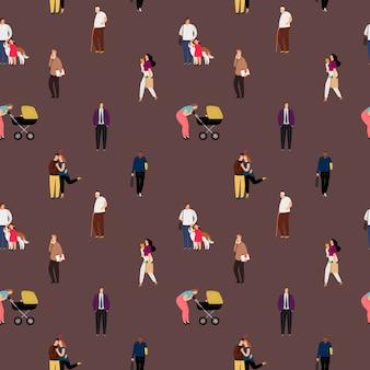Personas planas de patrones sin fisuras. pareja besándose, madre con cochecito de bebé caminando fondo decorativo.