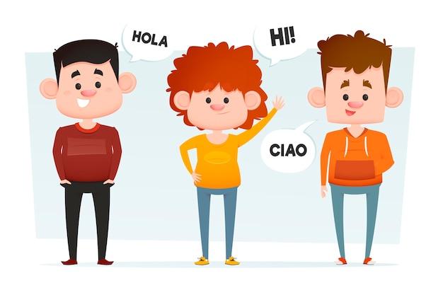 Personas planas que se comunican en diferentes idiomas.