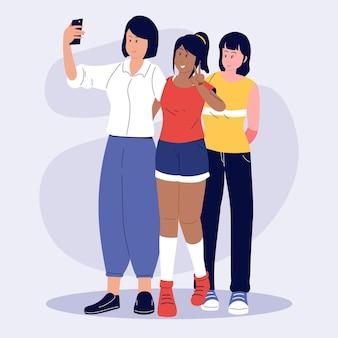Personas planas tomando fotos con smartphone
