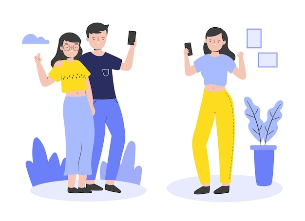 Personas planas tomando fotos con teléfono.