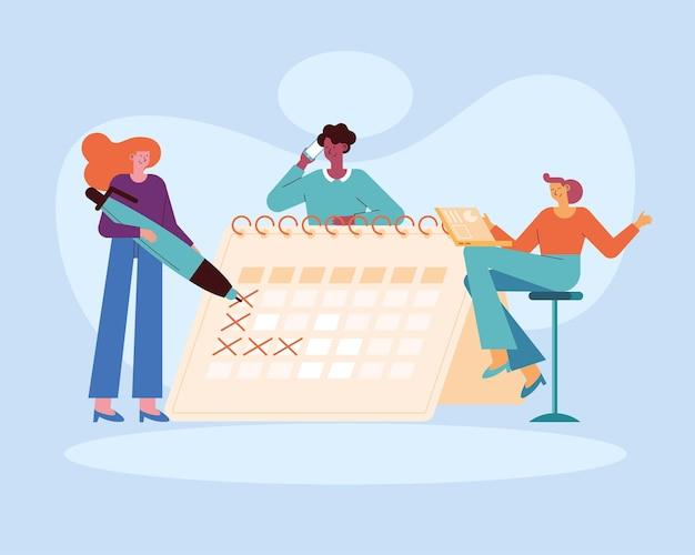 Personas con planificación de calendario