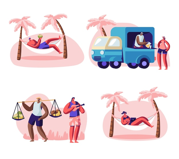 Personas en la playa de la ciudad. ilustración plana de dibujos animados