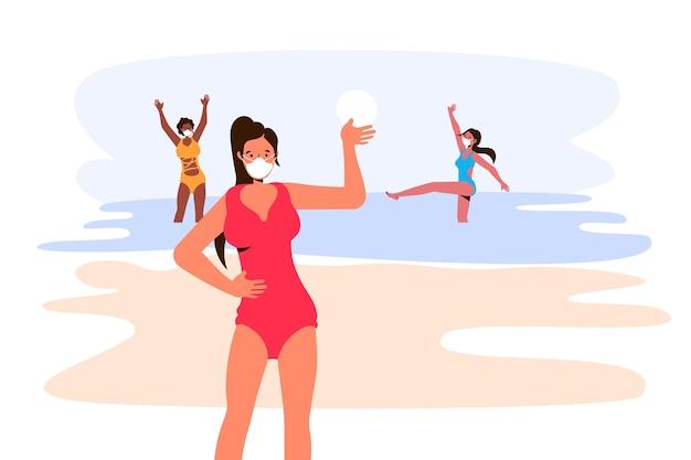 Personas en la playa con concepto de máscara