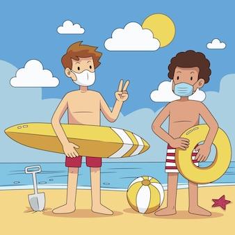 Personas en la playa con mascarillas