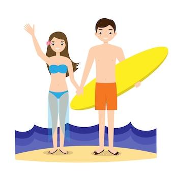 Personas en la playa personajes de estilo de vida activo.