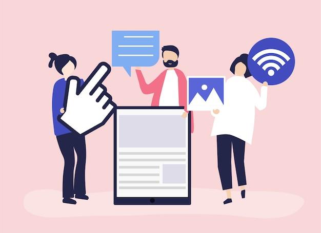 Personas portadoras de diferentes iconos relacionados con los medios online.
