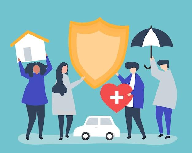 Personas portadoras de iconos relacionados con el seguro.