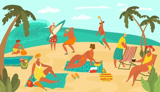 Personas positivas del cuerpo en la playa del mar jugando a la pelota, tomando el sol en la arena, practicando surf y bebiendo cócteles, palmas ilustración plana.