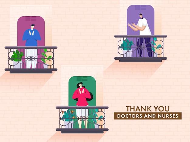 Las personas que aplauden para apreciar a los médicos y enfermeras desde el balcón con decir gracias sobre fondo de pared de ladrillo melocotón.