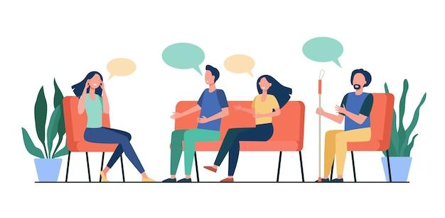 Personas que asesoran con psicólogo aislado ilustración vectorial plana. médico de dibujos animados hablando con pacientes en sesión de psicoterapeuta. concepto de adicción y terapia de grupo