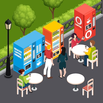 Las personas que beben café en un café al aire libre con máquinas expendedoras que venden aperitivos y bebidas 3d ilustración isométrica del vector