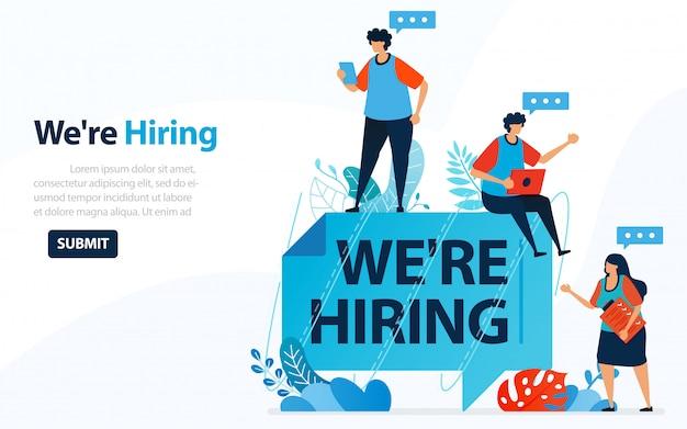 Personas que buscan empleados con palabras que estamos contratando, ilustración del concepto.