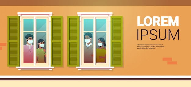 Las personas que buscan fuera del apartamento se quedan en casa auto-aislamiento coronavirus pandemia concepto de cuarentena