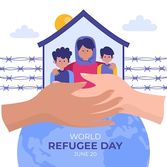 Personas que buscan refugio día de refugiados