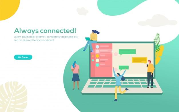 Las personas que chatean con el grupo en las redes sociales con un teléfono inteligente y una computadora portátil, pueden usar el concepto de ilustración de chat en línea, página de inicio, plantilla, interfaz de usuario, web, aplicación móvil, póster, pancarta, folleto