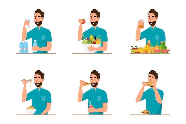 Personas que comen comida sana y comida rápida de diferente carácter.