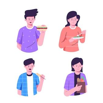 Personas que comen varios tipos de alimentos.